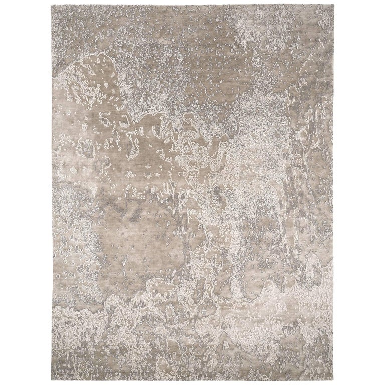 Wool Silk Rugs Contemporary: 'Aquarium Silver' Silk And Wool Contemporary Rug By Carini