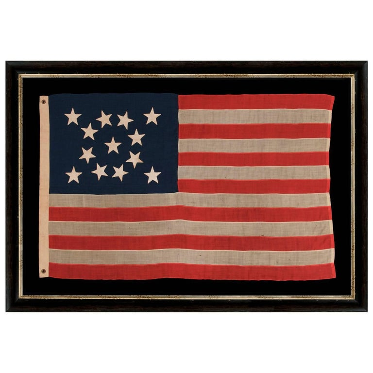 13 Hand-Sewn Stars In A Beautiful Medallion Configuration On An Antique Flag