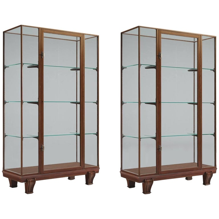 Set of Midcentury Vitrines with Glass
