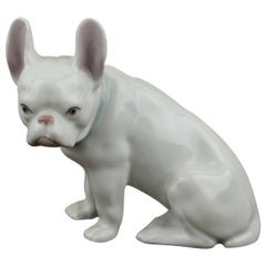 Early 20th Century Porcelain French Bulldog Figurine, Made in Germany