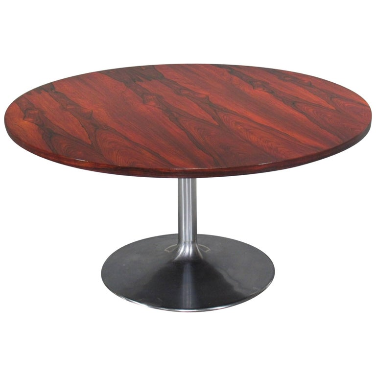 Height Adjustable Round Rosewood Pedestal Table For Sale