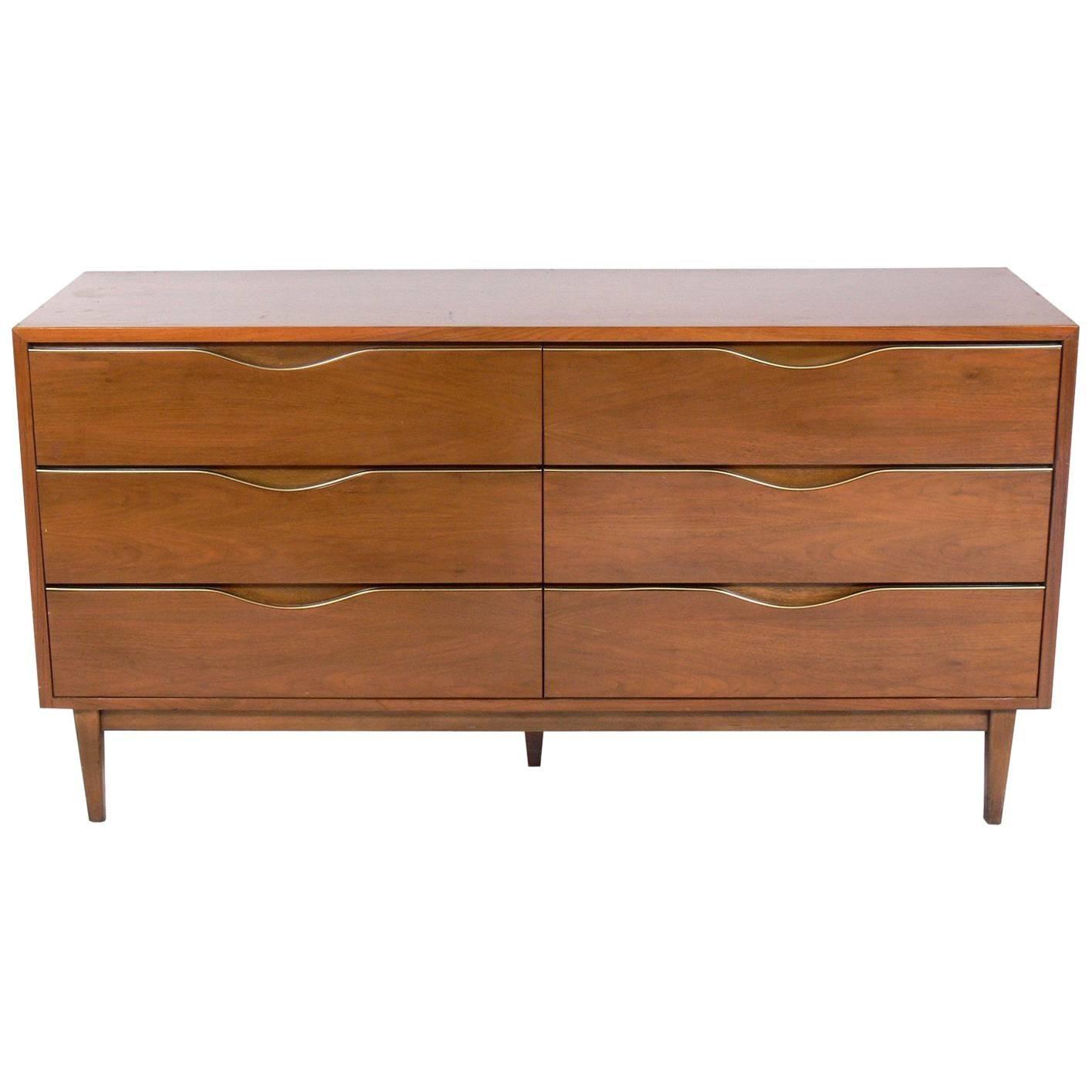 Midcentury Walnut Chest or Dresser with Brass Trim