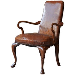 George III Style Solid Mahogany and Distressed Worn Leather Desk  Armchair