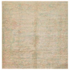 21st Century Pale Green, Pink Square Indian Rug