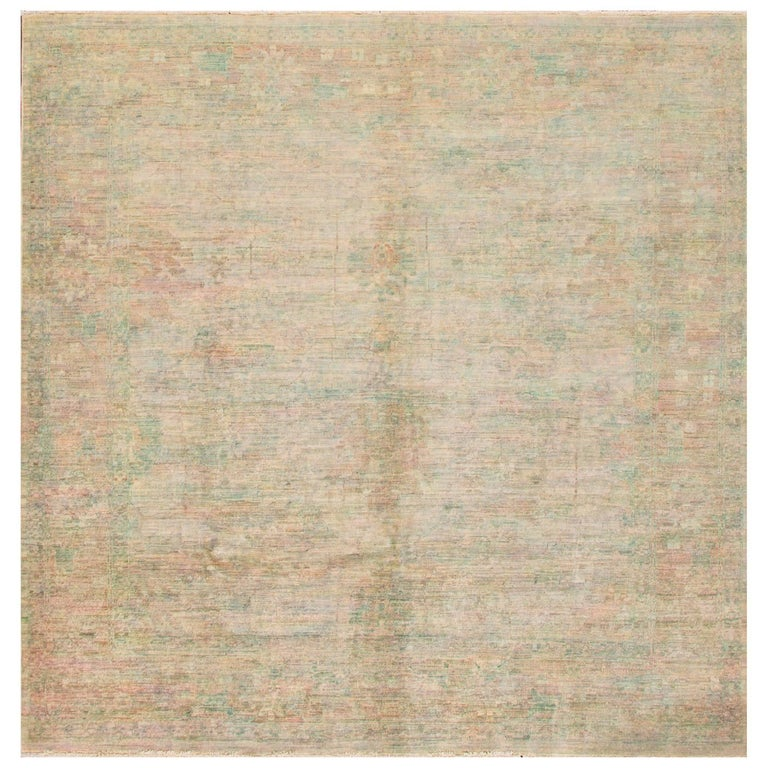 21st Century Pale Green, Pink Square Indian Rug For Sale