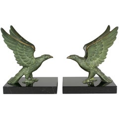 Art Deco Bronze Falcon Bookends