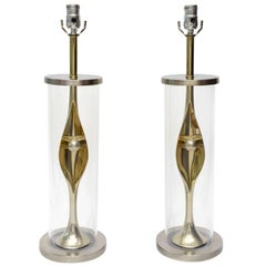 Pair of Mid-Century Modern Sculptural Laurel Mixed Metal and Lucite Table Lamps