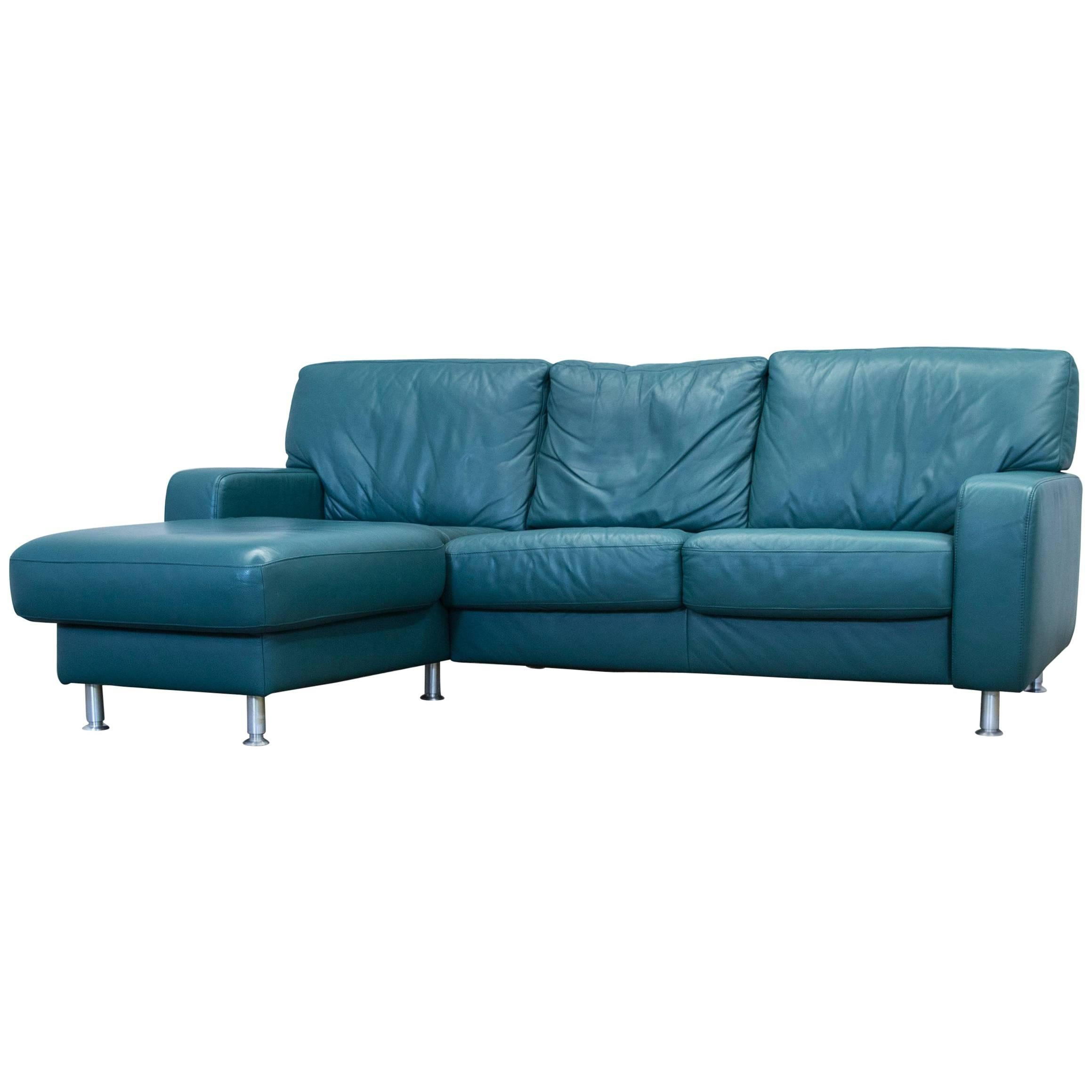 Koinor Designer Corner Sofa Leather Green Couch Modern For Sale