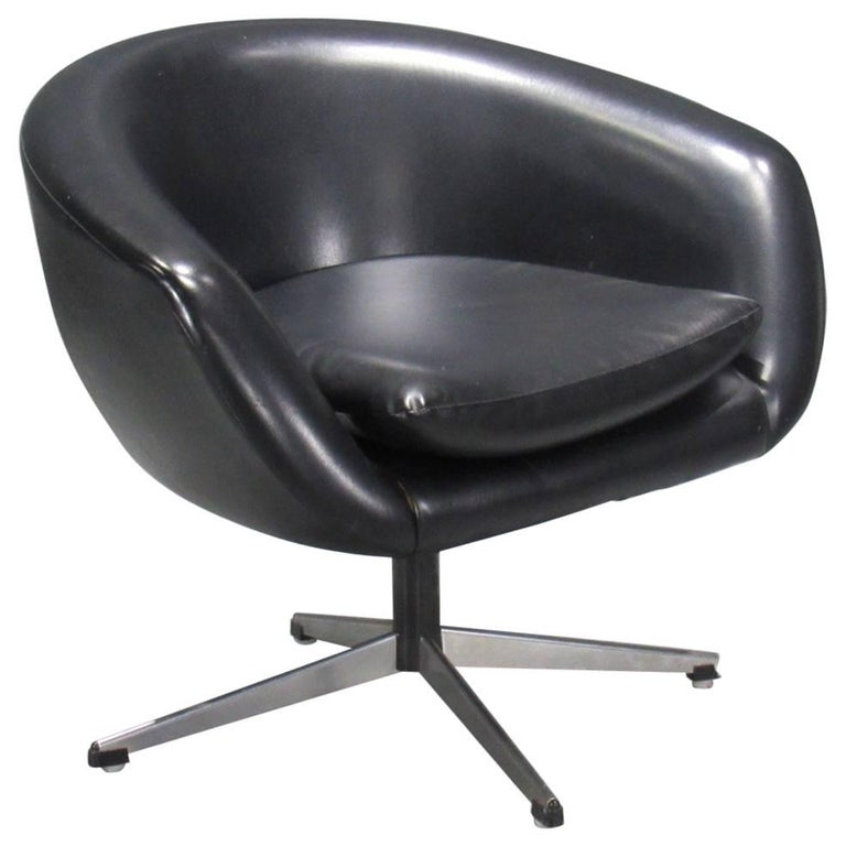 Black Swivel Pod Chair by Overman