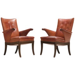 Frits Henningsen Pair of Cognac Leather Chairs, circa 1930