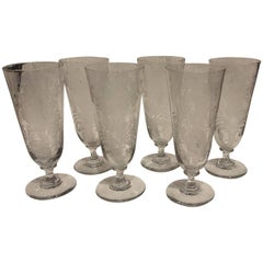 Art Noveau German Set of Six Beer Glasses with Etched Decor