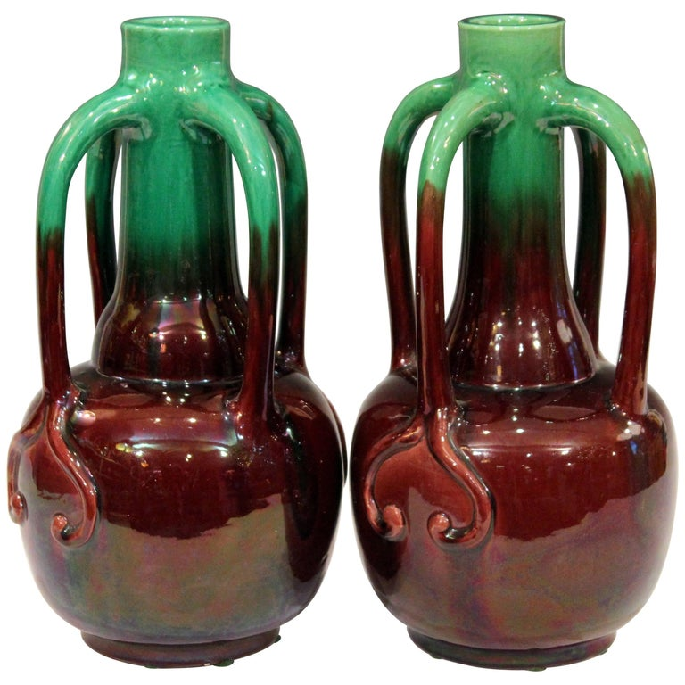 Pair of Art Nouveau Japanese Awaji Pottery Organic Gourd Form Tendril Vases
