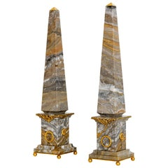 Pair of Italian Marble and Bronze Obelisks, Arabesque, Limited Edition, 2017