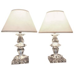 Pair of Art Deco Lamps by Baccarat, France circa 1940, Attr. to Jacques Adnet