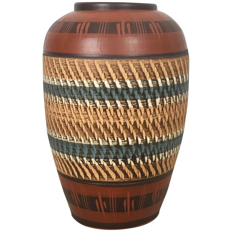 L 36cm Vintage Handmade Ceramic Pottery Floor Vase Germany 1960s For