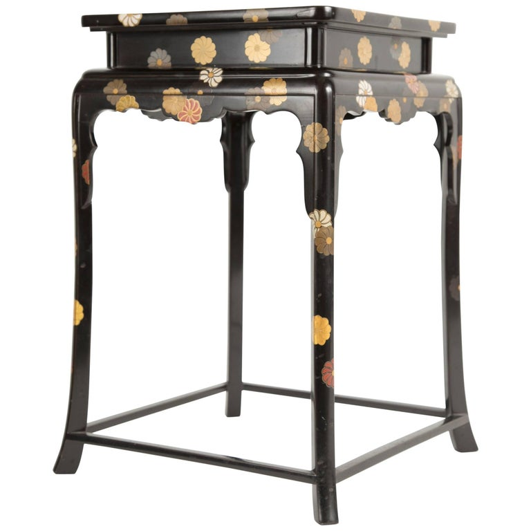 Japanese Black Lacquered Cocktail Table With Chrysanthemum Design