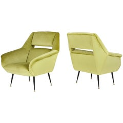Pair of 1950s Italian Lounge Chairs Attributed to Gigi Radice for Minotti