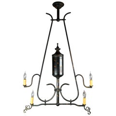 Japanned Finish Four Candle Gas Converted Chandelier