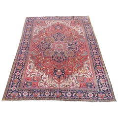Antique Heriz Carpet with Green-Lobed Medallion Natural Colors 1900