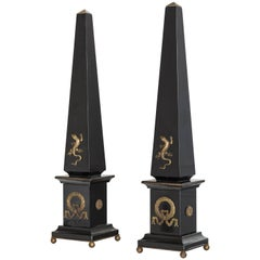 "Pair of Black Marble and Bronze Obelisks ""Gold Lizard"", Limited Edition, 2017"