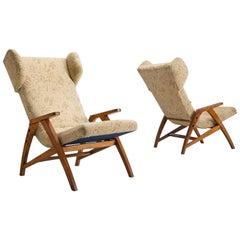 Midcentury Oak 'Him' Wingback Chairs