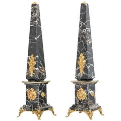 "Pair of Portoro Marble and Bronze Obelisks ""Gold Lion"", Limited Edition, 2017"