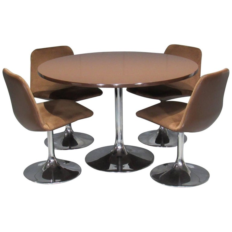 Chrome Tulip Table and Four Dining Chairs by Borje Johanson