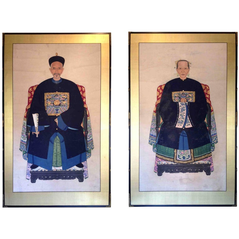 Pair of Screens Chinese Ancestral Painting Contemporary Antique Hardware