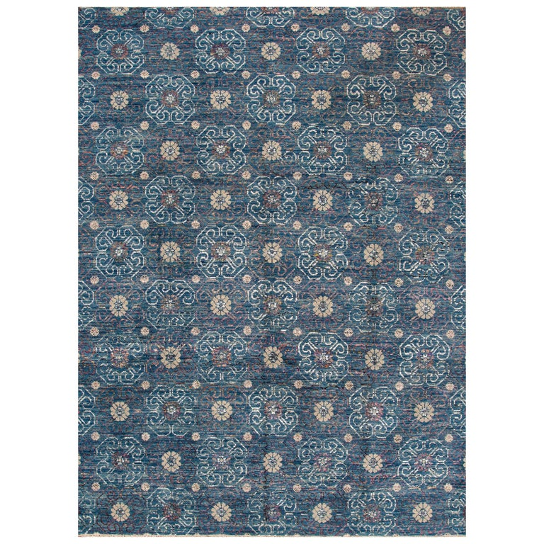 21st Century Blue, Cream Transitional Indian Rug For Sale