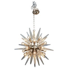 Small Nickeled Brass and Murano Glass Sputnik Chandelier