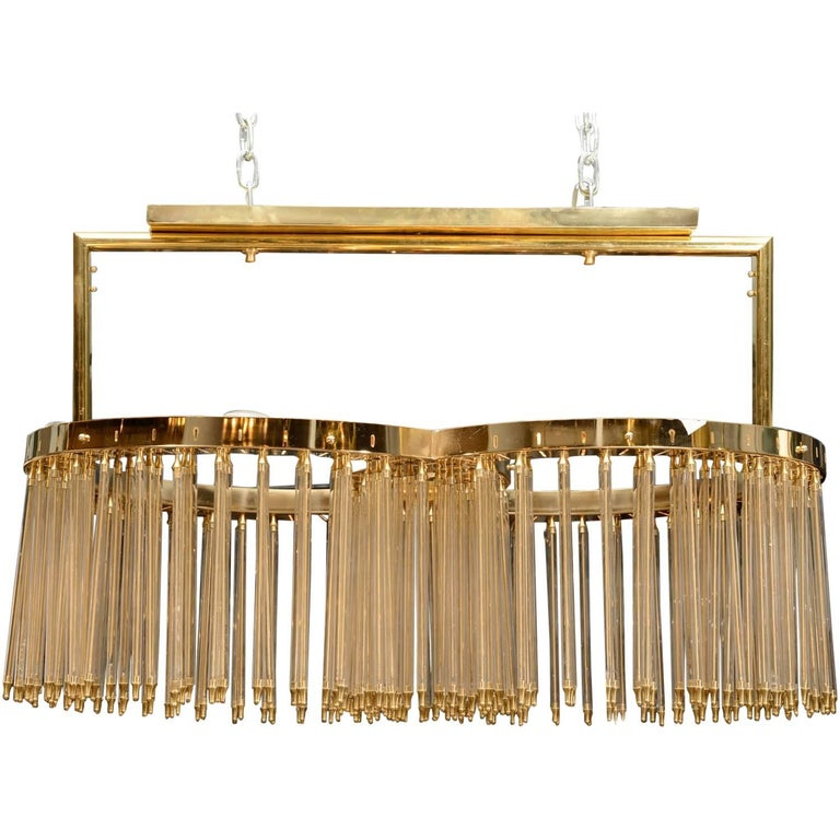 Unique Glustin Luminaires Creation Brass and Glass Rods Chandelier