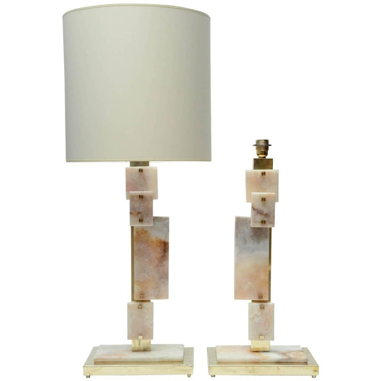 Glustin Luminaires Creation Pair of Brass and Marble Table Lamps