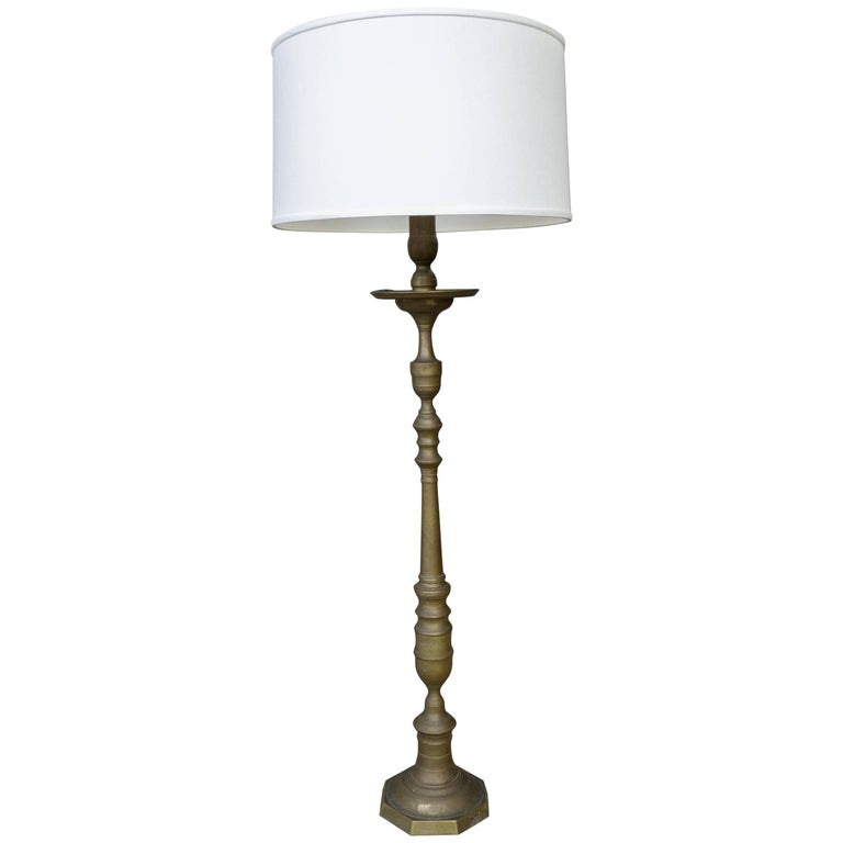 1940s French Turned Bronze Floor Lamp