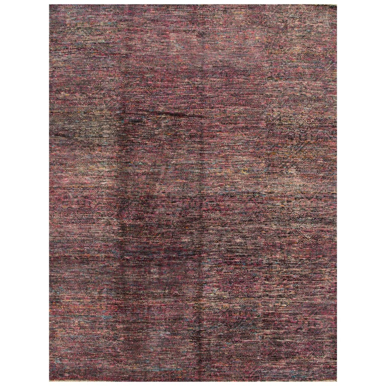 21st Century Pink Multicolored Transitional Indian Rug For