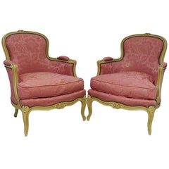 Pair of French Bergere Armchairs Louis Style, Early 20th Century to recover