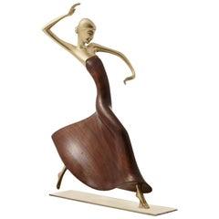 Karl Hagenauer Female Dancer Brass and Walnut Statue