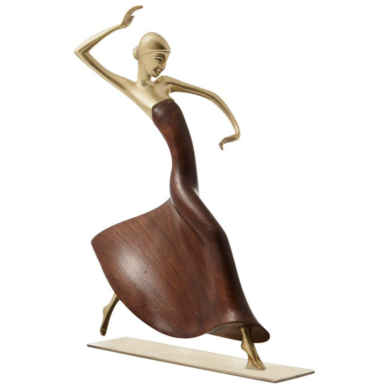 Karl Hagenauer Female Dancer Brass and Walnut Statue For Sale