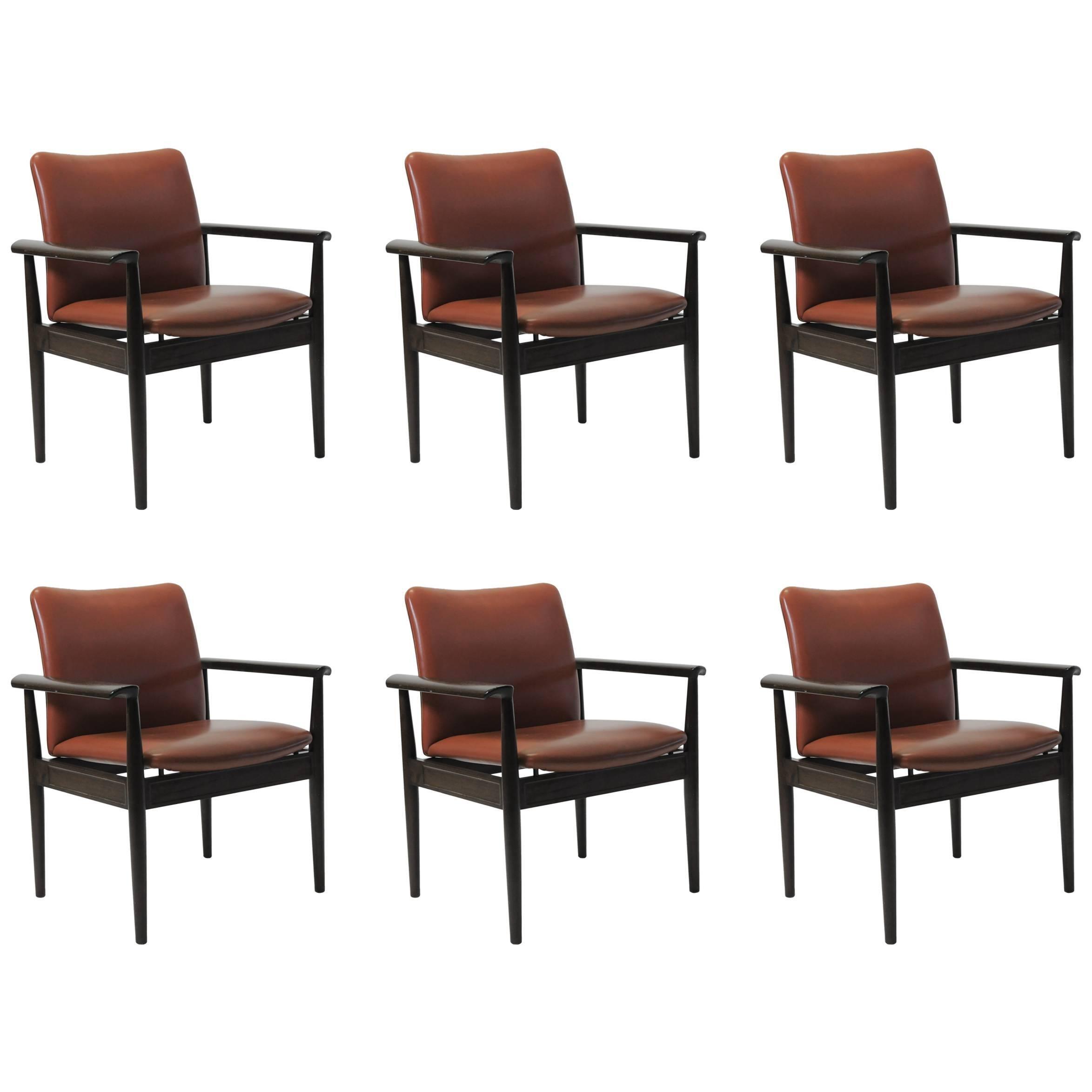 1960s Finn Juhl Six Model 209 Diplomat Chairs in Mahogany and Leather, Cado