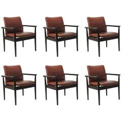 1960s Finn Juhl Six Model 209 Diplomat Chairs in Mahogany and Leather, Cado