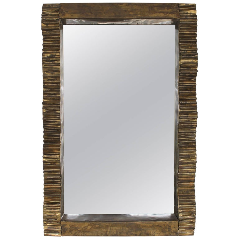 Brutalist Metal Ribbon Mirror