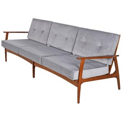 Mid-Century Modern Grete Jalk Style Three-Seat Wood Frame Grey Velvet Sofa Couch