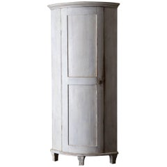 Cabinet Corner Swedish Gustavian White Neoclassical 19th Century Swedish