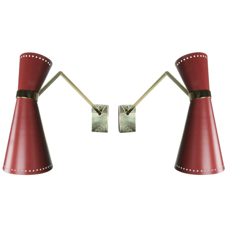 Pair of Italian Midcentury Wall Sconces For Sale