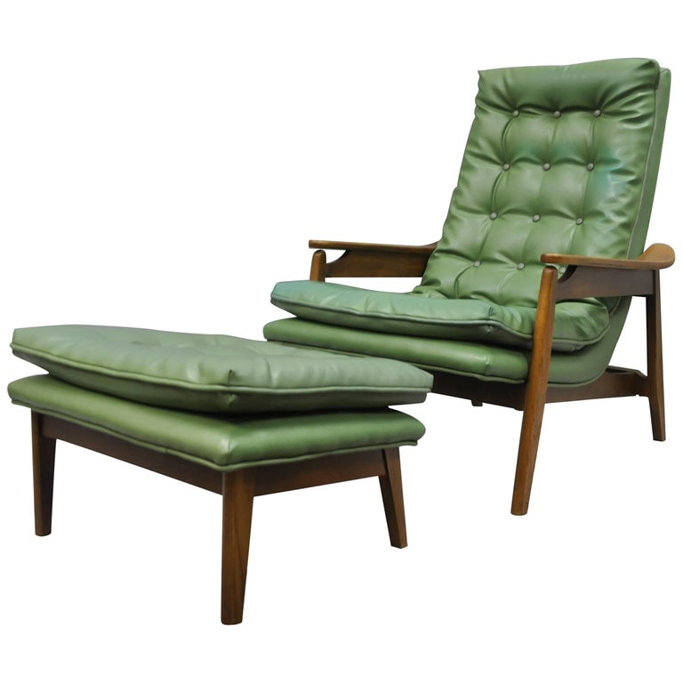 Mid-Century Modern Walnut Lounge Chair and Ottoman After Milo Baughman Tall Back