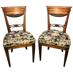 19th Century Pair of Neoclassical Fruitwood Side Chairs, circa 1850