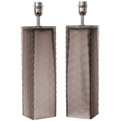 Pair of Italian Smoked Grey Murano Glass Textured Block Lamps, Signed
