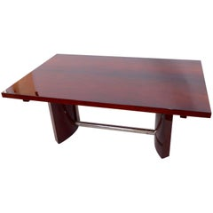 1930s Dining Table in real wood veneer, French Art Deco