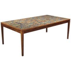 Large Danish Modern Rosewood and Tile Coffee Table