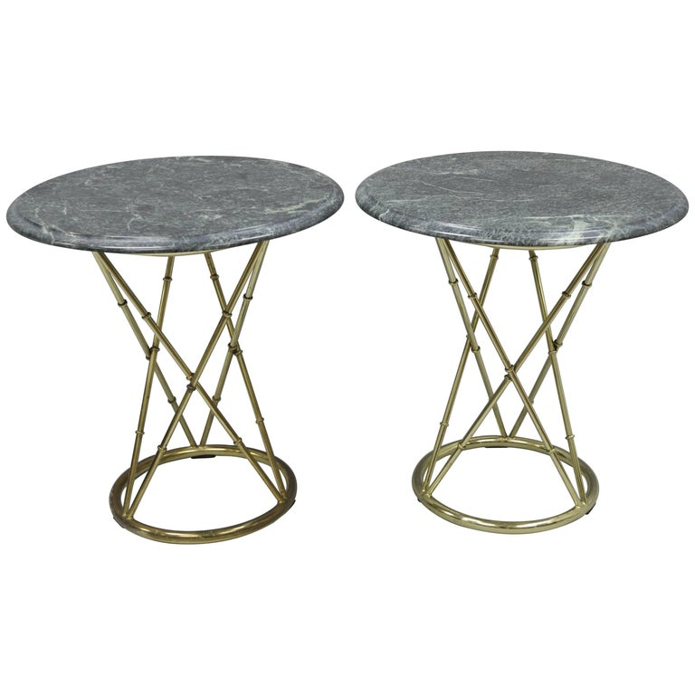 Pair of Brass Metal Faux Bamboo Round Green Marble-Top Lamp Side Tables For Sale
