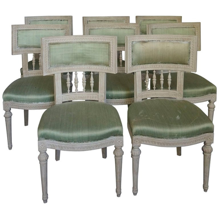 Set of Eight Swedish Dining Chairs with Neoclassical Elements